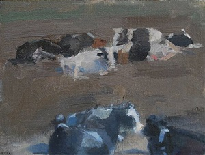 cows lounging by laura adler
