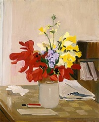 anemone and daffodil by fairfield porter