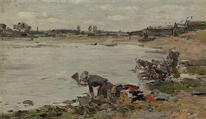 laveuses au bord de la touques (paire) by eugène boudin