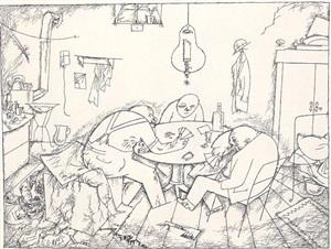 apaches (when it was all over, they played cards) / apachen (als alles vorbei war, spielten sie karten) by george grosz