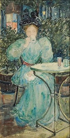 woman at a table by maurice brazil prendergast