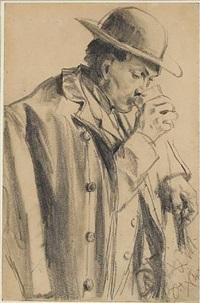 a man drinking by adolph von menzel