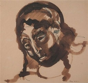 untitled female portrait head by max weber
