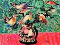 vase de fleur et oiseau by bernard lorjou
