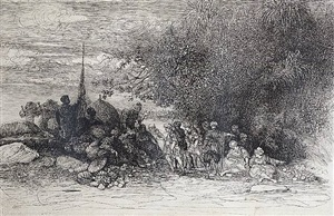 an oriental encampment ( la halte du cheikh) by rodolphe bresdin