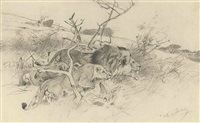 crouching lion and lioness by wilhelm friedrich kuhnert