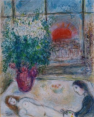 devant la fenetre (in front of the window) by marc chagall