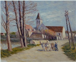 paysan quittant un village (peasant leaving a village) by maximilien luce