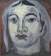 untitled - head portrait by max weber