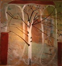 silver birch in front of the chapel by mary newcomb