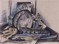 still life with condiments (the provolone cheese) by preston dickinson