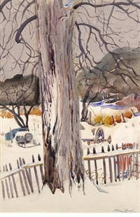 old horse chestnut tree in winter by william zorach