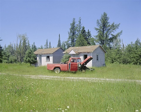abandoned cabins, gaylord, michigan, july 8, 1973 by stephen shore