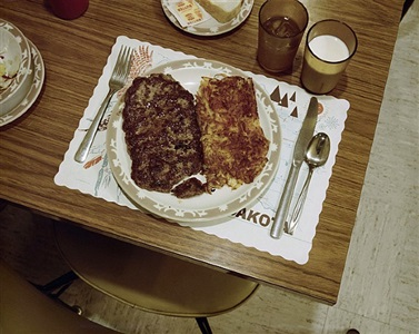 hamburger steak dinner, redfield, sd, july 13, 1973 by stephen shore