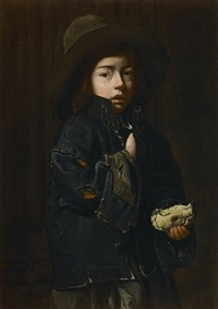a beggar boy with a piece of pie by the master of the blue jeans