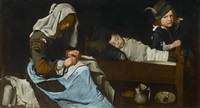 woman sewing with two children by the master of the blue jeans