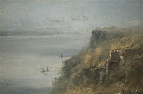 palisades on the hudson by george inness