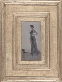 standing woman with fan, a study in rose and grey by leon dabo
