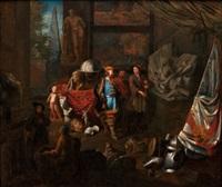atelier of a sculptor (+ atelier of a painter; pair) by balthasar van den bossche