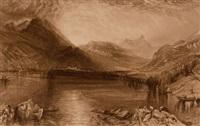 lake of zug (+ tree, ink and wash, verso)(+ lake of zug, engraving)(3 works) by john ruskin