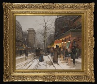 snowy pavilion boulevard at dusk by eugène galien-laloue