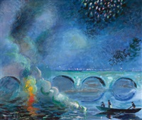 fireworks, bridge at vernon, france by theodore earl butler