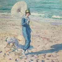 on the beach (girl in blue) by frederick carl frieseke
