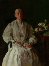 portrait of a lady with flowers by charles courtney curran