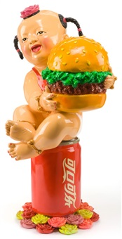 welcome to the world's famous brands (baby girl with pigtails holding hamburger) by luo brothers