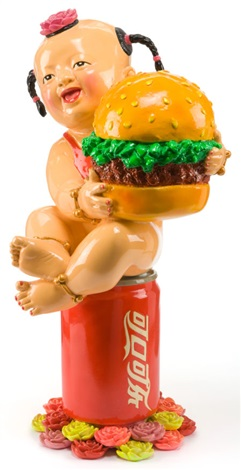 welcome to the worlds famous brands baby girl with pigtails holding hamburger by luo brothers