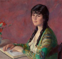 young woman reading by ivan g. olinsky