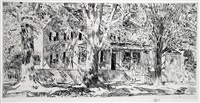 house on the main street, easthampton by childe hassam