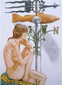 nude model with banner and fish weathervanes by philip pearlstein