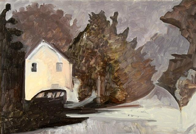 lit house, foggy night by lois dodd