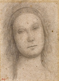 the head of a young woman, after perugino by edgar degas