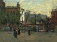 early evening, empire park, new york by paul cornoyer
