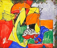 mysterious approach ii (recto) by hans hofmann