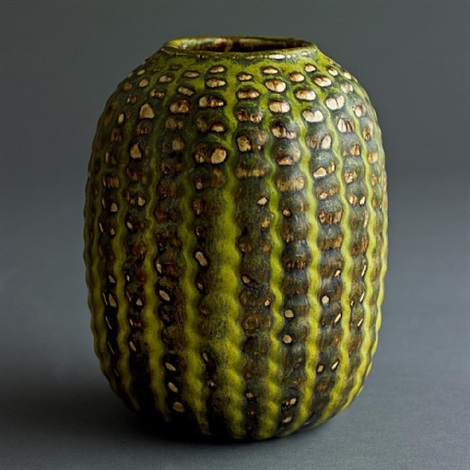 axel salto for royal copenhagen stoneware vase with solfatara glaze , signed with markings by axel johann salto
