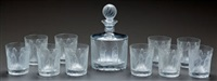 femmes antiques decanter and ten whiskey tumblers (set of 11) by rené lalique