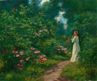 woman on a floral path by william king amsden