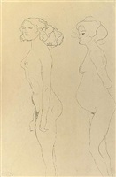standing girl and pregnant woman to the left by gustav klimt