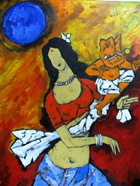 lord ganesha and mata parvati by maqbool fida husain