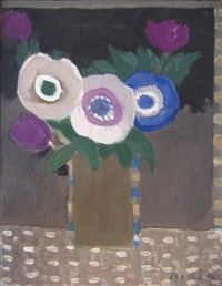 three anemones and three tulips by janice biala