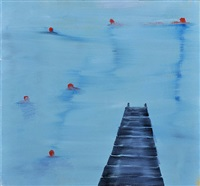red swimmers and dock by katherine bradford