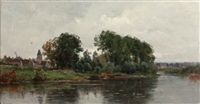 a village on the river by adrien jacques sauzay