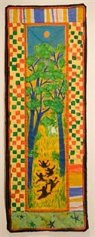coming to jones road banner quilt #1: under a blood red sky by faith ringgold