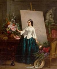 woman flower painter at the easel (almost certainly a portrait of his sister suzanne-estelle beranger-apoil) by jean baptiste antoine emile beranger