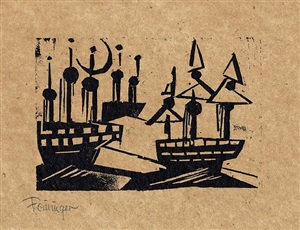 schiffe und neumond (ships and new moon) by lyonel feininger
