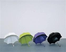 weisser schirm, hellgrüner schirm, violetter schirm, schwarzer schirm (white umbrella, light green umbrella, purple umbrella, black umbrella) by katharina fritsch