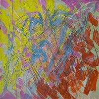pink/blue abstract composition by stanley william hayter
